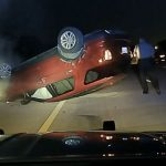 Video shows woman's car flip over after officer's PIT maneuver